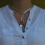double albert chain with spring ring (as woman's short necklace)