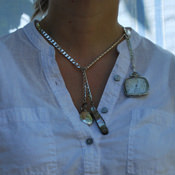double albert chain with spring ring (as woman's short necklace, with watch)